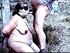 BDSM serfdom outdoor blowjob..