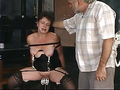 Two old guys torture mature..