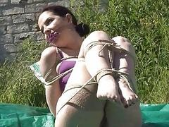Outdoor bondage and cloth..