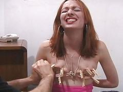 Nipple torture for lose..