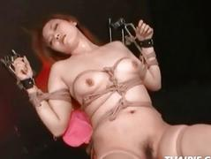 Asian Roped And Made Down Cum