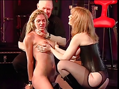 Guy and mistress whipping slut